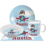 Airplane & Pilot Dinner Set - 4 Pc (Personalized)