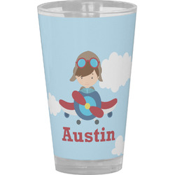 Airplane & Pilot Drinking / Pint Glass (Personalized)