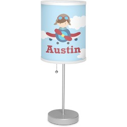 """Airplane & Pilot 7"""" Drum Lamp with Shade (Personalized)"""