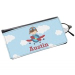 Airplane & Pilot Genuine Leather Eyeglass Case (Personalized)
