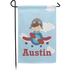 Airplane & Pilot Single Sided Garden Flag With Pole (Personalized)