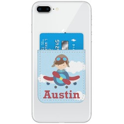 Airplane & Pilot Genuine Leather Adhesive Phone Wallet (Personalized)