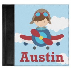 Airplane & Pilot Genuine Leather Baby Memory Book (Personalized)