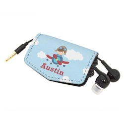 Airplane & Pilot Genuine Leather Cord Wrap (Personalized)