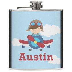 Airplane & Pilot Genuine Leather Flask (Personalized)