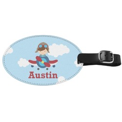 Airplane & Pilot Genuine Leather Oval Luggage Tag (Personalized)