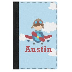 Airplane & Pilot Genuine Leather Passport Cover (Personalized)