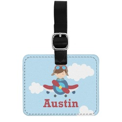 Airplane & Pilot Genuine Leather Rectangular  Luggage Tag (Personalized)