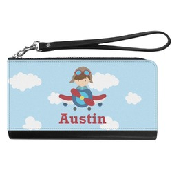 Airplane & Pilot Genuine Leather Smartphone Wrist Wallet (Personalized)