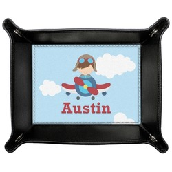 Airplane & Pilot Genuine Leather Valet Tray (Personalized)