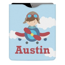 Airplane & Pilot Genuine Leather iPad Sleeve (Personalized)