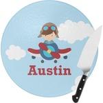 Airplane & Pilot Round Glass Cutting Board (Personalized)