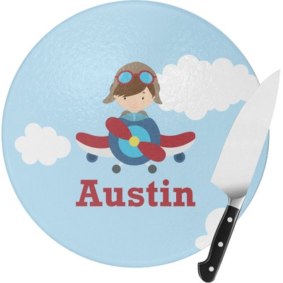 Airplane & Pilot Round Glass Cutting Board (Personalized)