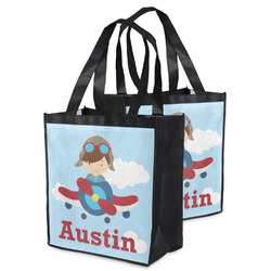 Airplane & Pilot Grocery Bag (Personalized)