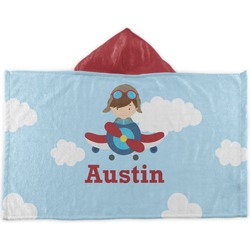Airplane & Pilot Kids Hooded Towel (Personalized)