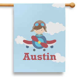 """Airplane & Pilot 28"""" House Flag (Personalized)"""