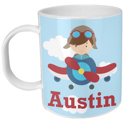 Airplane & Pilot Plastic Kids Mug (Personalized)