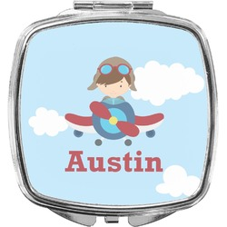 Airplane & Pilot Compact Makeup Mirror (Personalized)