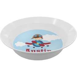 Airplane & Pilot Melamine Bowl (Personalized)