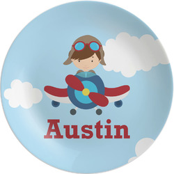 """Airplane & Pilot Melamine Plate - 8"""" (Personalized)"""