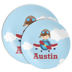 Airplane & Pilot Melamine Plate (Personalized)