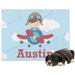 Airplane & Pilot Minky Dog Blanket (Personalized)