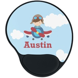 Airplane & Pilot Mouse Pad with Wrist Support