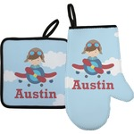 Airplane & Pilot Oven Mitt & Pot Holder (Personalized)