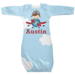 Airplane & Pilot Newborn Gown - 3-6 (Personalized)