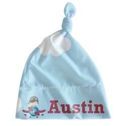 Airplane & Pilot Newborn Hat - Knotted (Personalized)