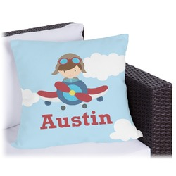"""Airplane & Pilot Outdoor Pillow - 18"""" (Personalized)"""