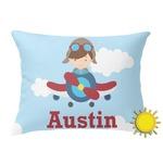 Airplane & Pilot Outdoor Throw Pillow (Rectangular) (Personalized)