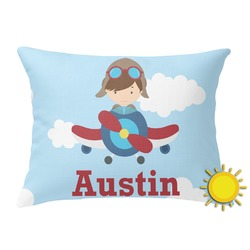 Airplane & Pilot Outdoor Throw Pillow (Rectangular) (Personalized)