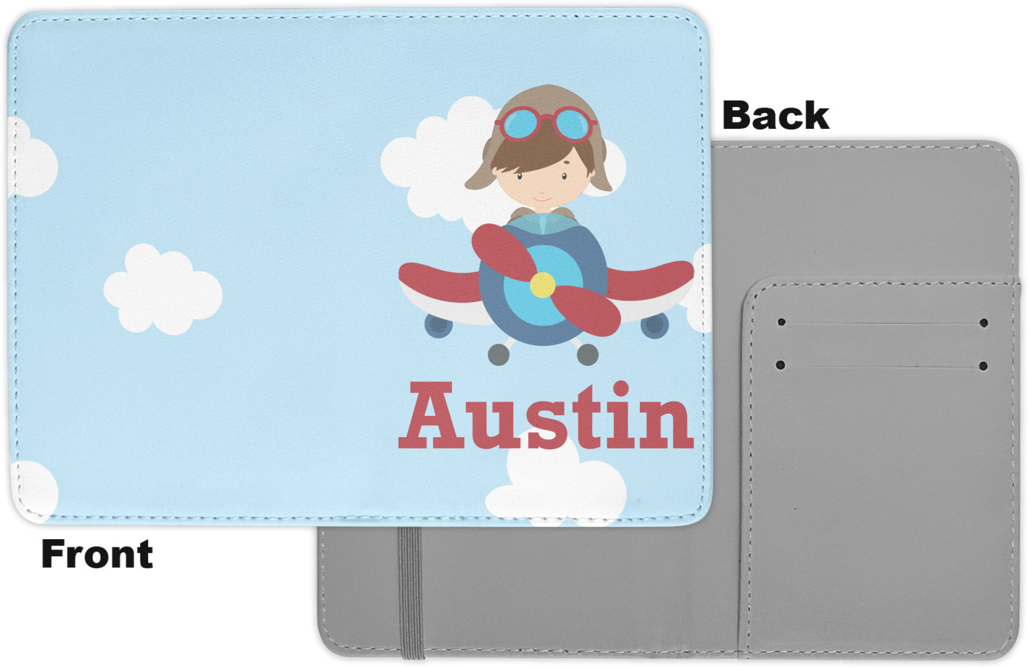 Double Sided Airplane Theme Leatherette Passport Holder Personalized