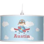 Airplane & Pilot Drum Pendant Lamp (Personalized)