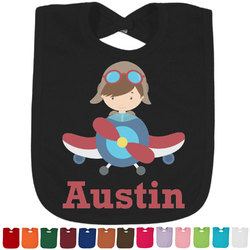 Airplane & Pilot Baby Bib - 14 Bib Colors (Personalized)