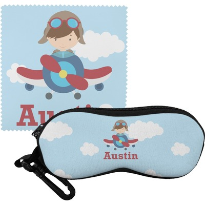 Airplane & Pilot Eyeglass Case & Cloth (Personalized)