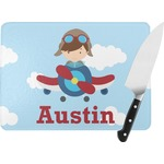 Airplane & Pilot Rectangular Glass Cutting Board (Personalized)