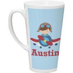 Airplane & Pilot 16 Oz Latte Mug (Personalized)