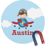 Airplane & Pilot Round Magnet (Personalized)