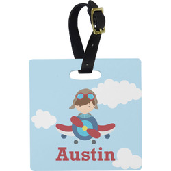 Airplane & Pilot Square Luggage Tag (Personalized)
