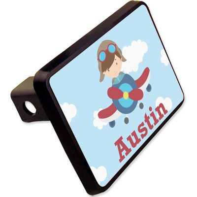 """Airplane & Pilot Rectangular Trailer Hitch Cover - 2"""" (Personalized)"""