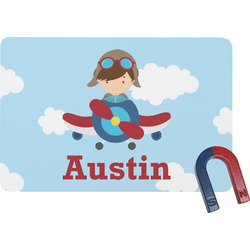 Airplane & Pilot Rectangular Fridge Magnet (Personalized)
