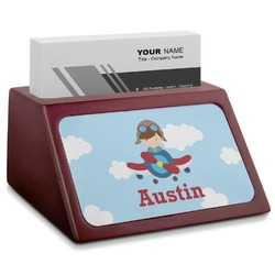 Airplane & Pilot Red Mahogany Business Card Holder (Personalized)