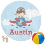 Airplane & Pilot Round Beach Towel (Personalized)
