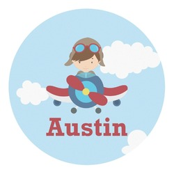 Airplane & Pilot Round Decal - Custom Size (Personalized)