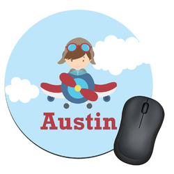 Airplane & Pilot Round Mouse Pad (Personalized)