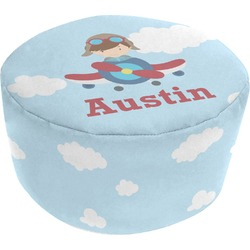 Airplane & Pilot Round Pouf Ottoman (Personalized)