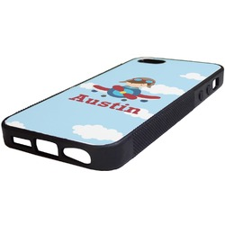 Airplane & Pilot Rubber iPhone 5/5S Phone Case (Personalized)