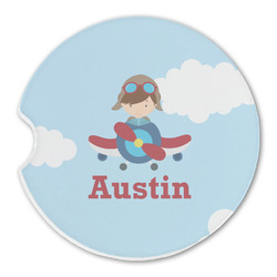 Airplane & Pilot Sandstone Car Coasters (Personalized)
